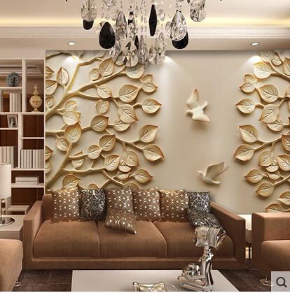 European wallpaper mural large 3d wall paper leaves for tv for Large wall art for living room