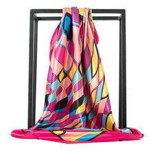 O CHUANG di Modo Sciarpa di Seta Foulard Scialle In Raso Sciarpe Big Size 90*90 centimetri Quadrati di seta Dei Capelli/Testa sciarpe Delle Donne bandana(China)
