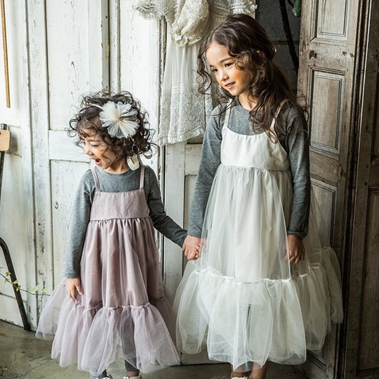 2016 Baby Girls Mesh Lace Maxi Dresses Kids Girl Summer Princess Dress Girl Singlet tutu Dress Babies Korean Clothes