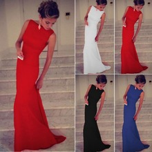 Buy Long Party Women Dress 2016 Length Dress Explosion Models Europe America Slim Solid Round Neck Sleeveless Maxi Dress for $17.36 in AliExpress store