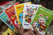 Korean Fashion Cartoon Animals Christmas Greeting Cards Kawaii Pattern 50pcs/lot Gift Card Christmas Decoration Gift