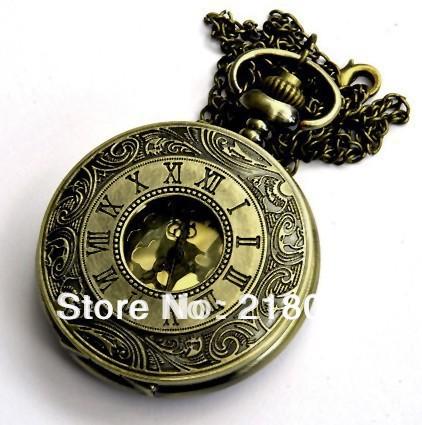 NEW design Vintage Large gold pocket watch necklace!Free shopping(China (Mainland))