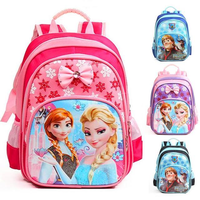Анна эльза мешок школы детский мультфильм рюкзак для детей характер, портфель в школу, ...