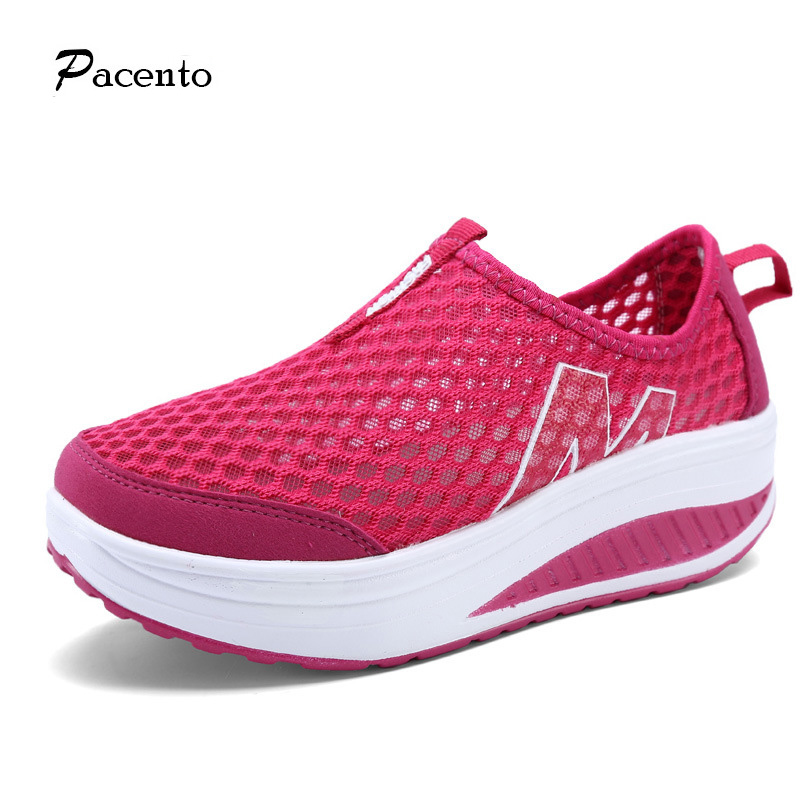 2016 PACENTO women's Platform walking shoes sport women Swing Wedges Shoes Breathable chaussure femme tenis feminino zapatillas(China (Mainland))