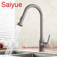 Pull Out White Marble Stone Polished 360 Degree Rotating Brass Swivel Kitchen Sink Mixer Tap Deck Mounted Cuisine Faucet