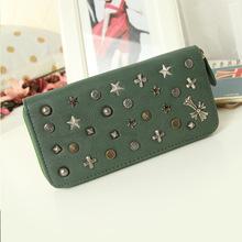 European Punk Style Wallet for Women pu Leather Women Wallets Large Zipper Long Wallet Women Phone Poucht Purses carte