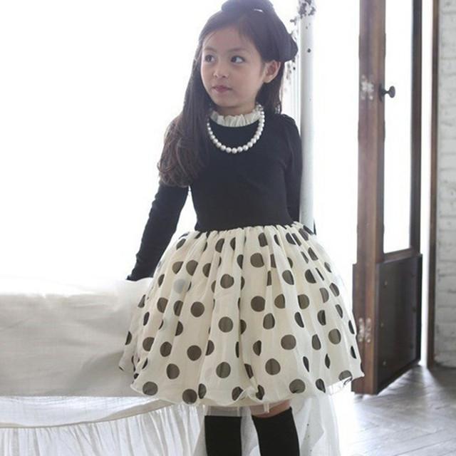 2016 новый платье ребенка свободного покроя с длинным рукавом одежда платья мини наряды мода детей весной одежды