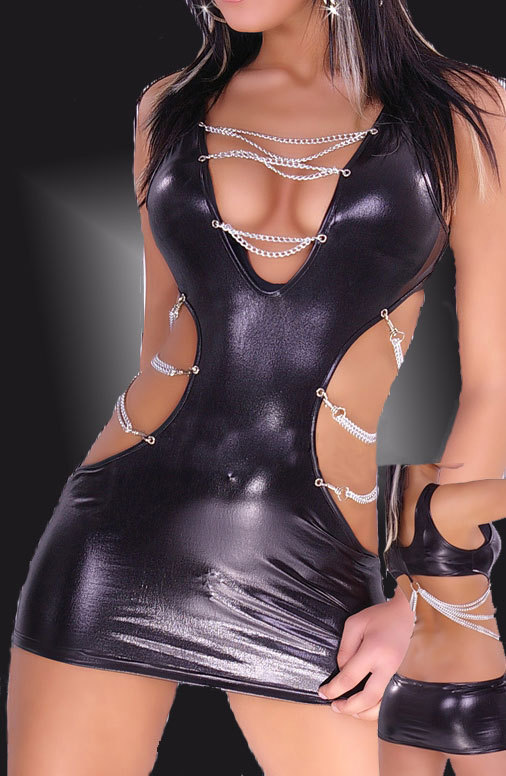 RB9006 Free shipping Black Fashion Wet Look Cutout Chain dress Faux Leather Bra Style Top Sides Corset dresses(China (Mainland))
