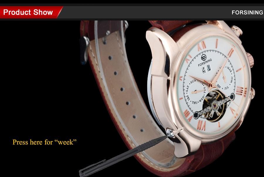 Мужчины Часы 2016 FORSINING Luxury brand дата неделя месяц дисплей авто Механическая розовое золото римские цифры Наручные Часы дисплей