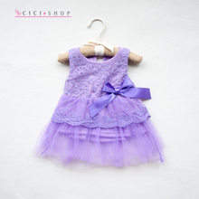 C12 2016 Summer New O Neck  Casual Children Clothes Sleeveless Beautiful Lace Dress Baby Girls Dress For Babies 0-12M Kids Bow