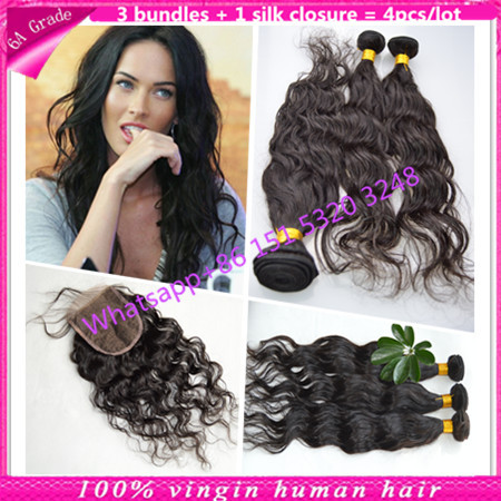 human hairy weave with silk base closure brazilian hair weave bundle with silk closure natural wave with silk base closure water<br><br>Aliexpress