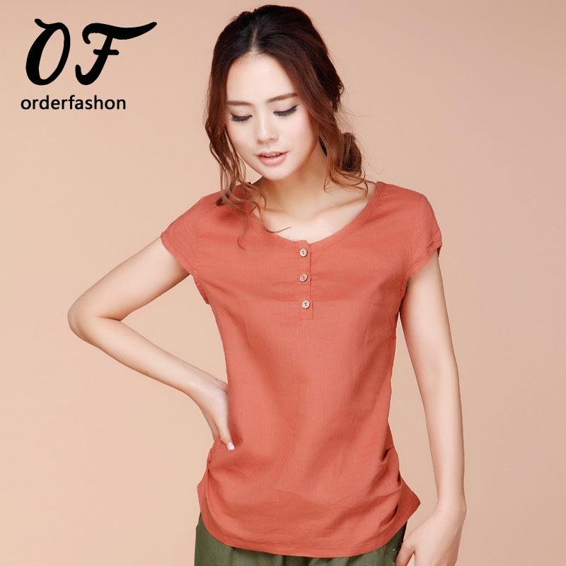 Blusa summer women cotton linen shirt femme tops mujer for Womens linen shirts blouses