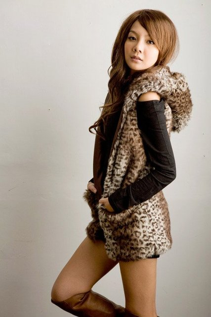 Female leopard print fashion wool sweater vest fur long design with a hood vest women's outerwear