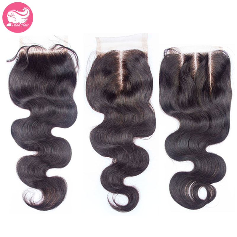 Free shipping 4x4 bleached knots three part lace front top closure body wave human virgin brazilian hair closure<br><br>Aliexpress
