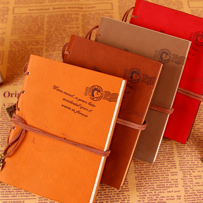 4 colors A5 Vintage Leather Notebook Retro Journal with Key Binding Diary Book Gold Age Stationery Gift Free shipping 1418<br><br>Aliexpress