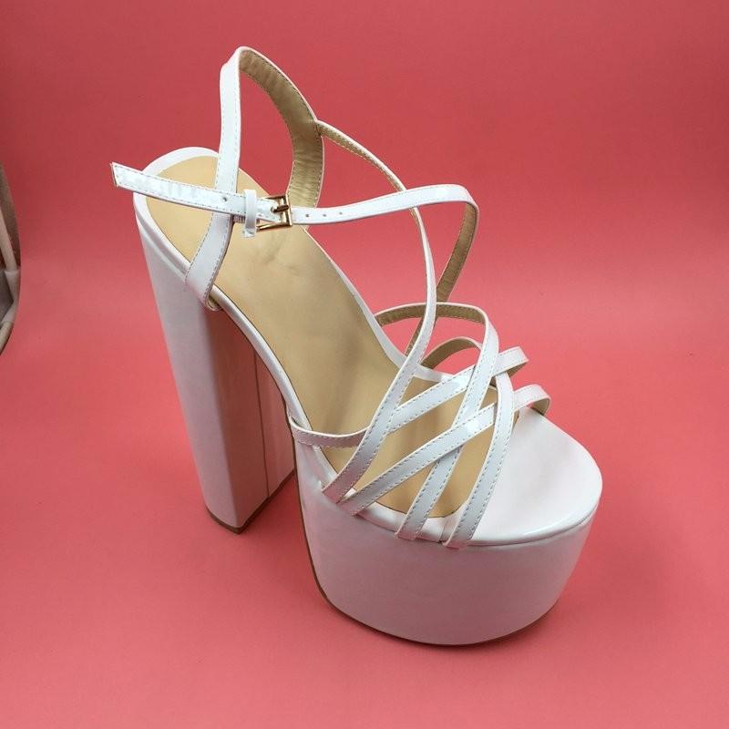 DIY Navy Blue Women Sandals Criss Cross Strap 21cm Chunky Heels 8cm Platform Customized Sandals Shoes Women Size 14