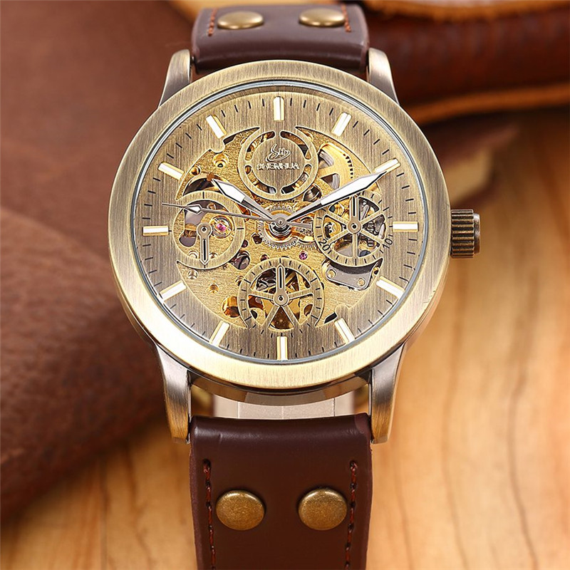 Classic Mens Watches Top Brand Luxury Men Skeleton Auto Mechanical Watch Wristwatch Gift With Box Free Ship(China (Mainland))