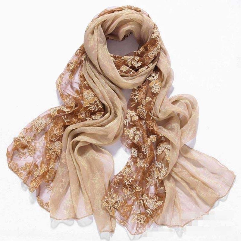 Autumn Embroider flower lace Faux Silk Scarf womens scarfs fashionable pashmina shawls chiffon wrap bandanas,bufandas 2016(China (Mainland))