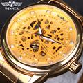 WINNER Men Watch Brand Luxury Automatic Self Wind Male Golden Skeleton Watch Full Steel Diamond Mechanical