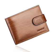 Buy Brown Italian Cattle Neckline Real Genuine Leather Wallet Men ID Credit Card Holder Small Purse Portomonee Portefeuille Carteras for $14.99 in AliExpress store