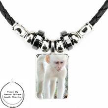 עבור נשים מתנה שובב קופים יפה Emoji היפ הופ תכשיטי מיחידים שחור עור חרוז תליון זכוכית קרושון קולר שרשרת(China)