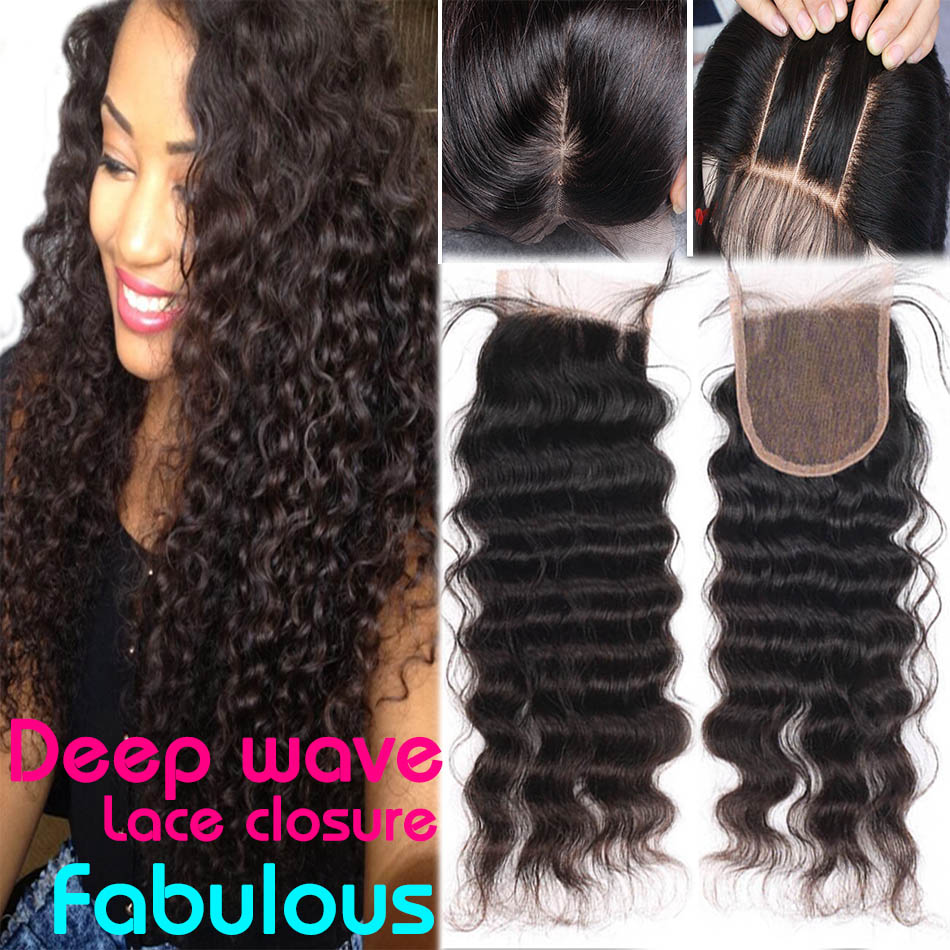 Brazilian Deep Wave Lace Closure Bleached Knot Virgin Human Hair Lace Front Closure Piece Brazillian/Brazilian Deep Wave Closure(China (Mainland))