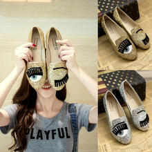 New 2016 Brand Casual Fashion Women Flats Oxford Shoes Loafers Eyes Pattern Sequins Gold Silver Free Shipping Plus Size 35-40