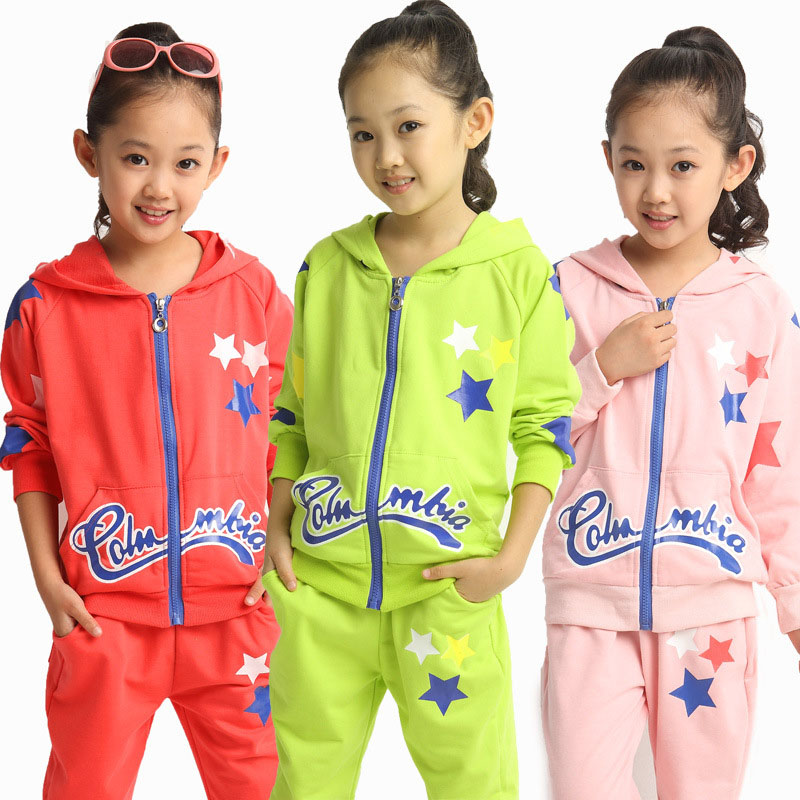 2016 newest Girl's spring autumn clothing sets baby Girl's suit sets Star pattern Girl Clothing sets t-shirts+pants 2pieces/set(China (Mainland))