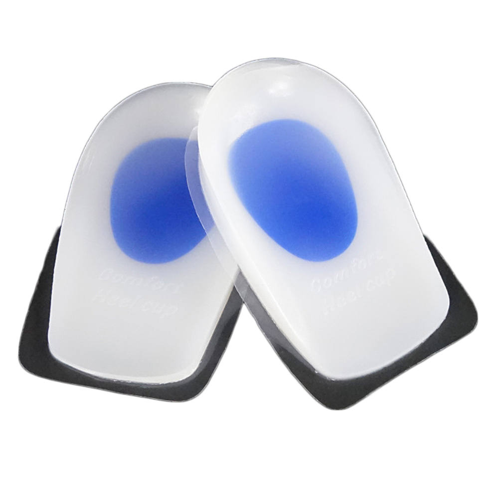 1 Pair Heel Support Pad Cup Gel Silicone Shock Cushion Orthotic Increased Insoles Plantar Care Foot Inserts Soft Half Height(China (Mainland))