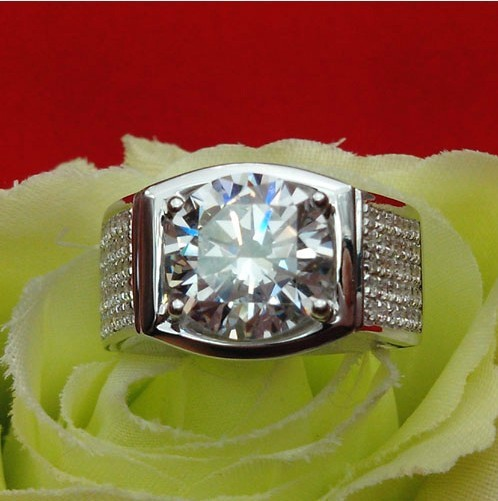 Awesome Male Lord Ring 14K Gold Generous Man Jewelry 5CT SONA Synthetic Diamond Ring G Color Bridegroom Jewelry White Gold Real(China (Mainland))