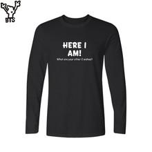 Buy BTS 2017 Men Long Sleeve t shirt Slogan am Funny Black White tshirt Men T Shirt Cotton 3xl Soft Cotton Tees Tops for $10.99 in AliExpress store