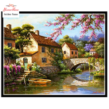 Buy DIY 5D full Diamond Mosaic Diamond Painting Cross Stitch cottage landscape Kit Diamonds Embroidery Square Drill Home Decoration for $4.57 in AliExpress store
