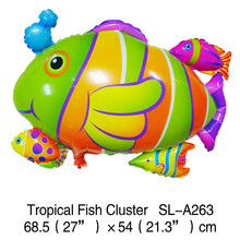 HAPPY TOGETHER Crafts Factory Wholesale 10pcs/lot 2015 New Style Tropical Fish Shaped Inflatable Mylar Balloons(China (Mainland))