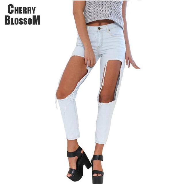Отверстие джинсы женщин парень разорвал проблемных джинсы для женщин брюки джинсовые ...