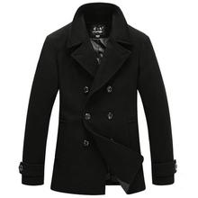 2015 Men stylish winter coats men woolen blends peacoat men's warm long double breasted wool trench coat overcoat jacket men(China (Mainland))