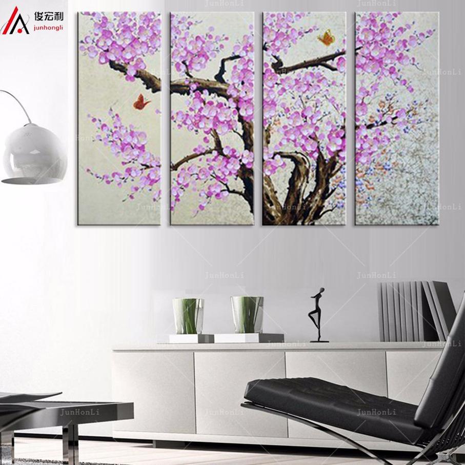 (No Frame)Modern Tree Canvas Prints red Purple Plum Flower Ornament hotel room on Canvas Art Prints Photo Prints Free shipping(China (Mainland))