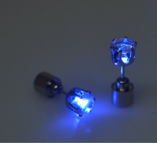Hot Sale 1PC Charm LED Earring Light Up Crown Glowing Crystal Stainless Ear Drop Ear Stud Earring Jewelry Free Shipping(China (Mainland))