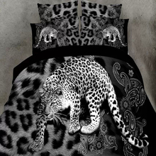 3d leopard bedding sets,4pc duvet cover without quilt,100% polyester black white leopard tiger print bedspreads queen size(China (Mainland))