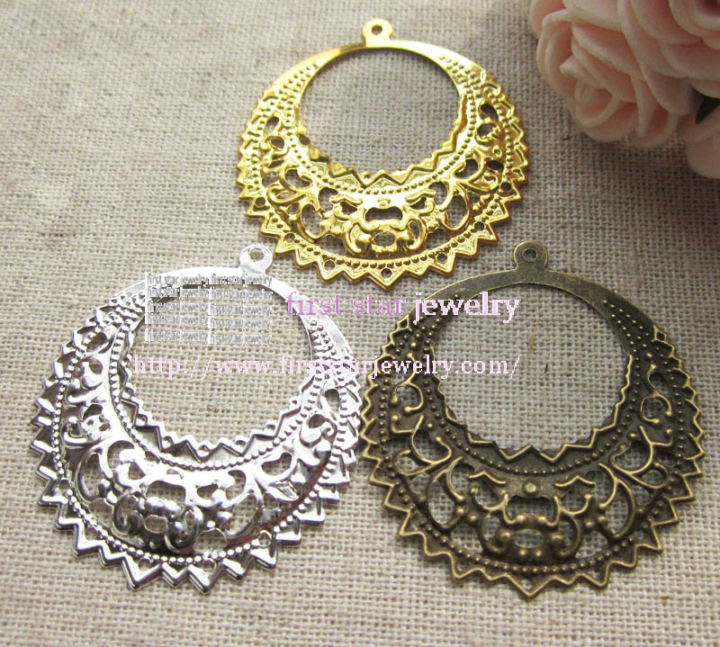 36*40mm silver /bronze/gold plattte filigree connector earring jewely findigs