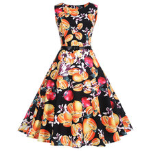 Ретро 2XL 50 s ретро винтажное платье для женщин цветочный принт без рукавов весна лето красное платье рокабилли качели платья для вечеринок(China)
