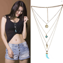 2015 Hotsale Western New Trendy Multi-layer Gold Silver Long Chain Turquoise Coin Anchor Leaf Pendant Necklace for Men and Women(China (Mainland))