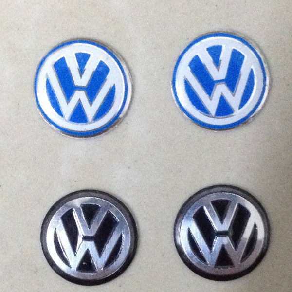 2pcs/lot 14mm Black blue VW Volkswagen Car logo auto Key Fob Emblem Badge Radio button Sticker for Golf Sagitar Scirocco Tiguan(China (Mainland))