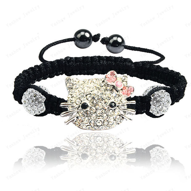 Big Sale Hello Kitty beads Bracelets & Bangles Pave 10mm Crystal AB Clay Ball beads Bracelet Mix Colours Options(China (Mainland))