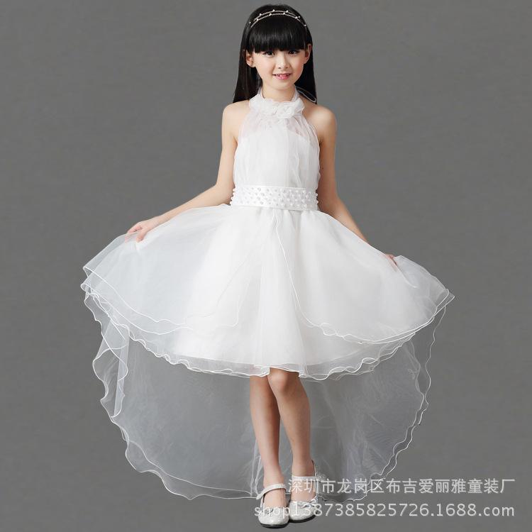 Скидки на Новые Дети Корейская Принцесса Девушки Платье Марли Чистый Белый Пояс Детская Одежда