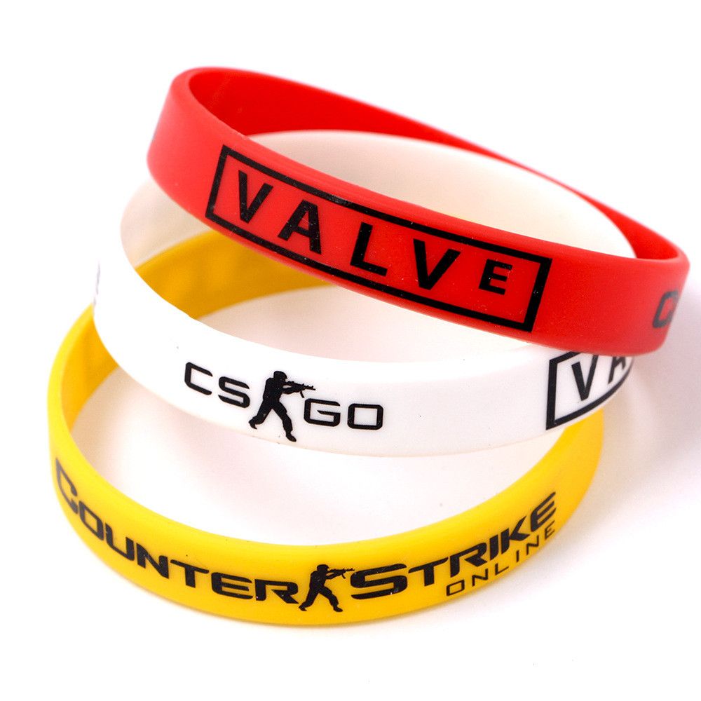 Games Play CS GO Silicone Rubber Diabetes Bracelets for Best Friends CSGO Braclet Red Yellow White Braslet For Male Pulsera(China (Mainland))
