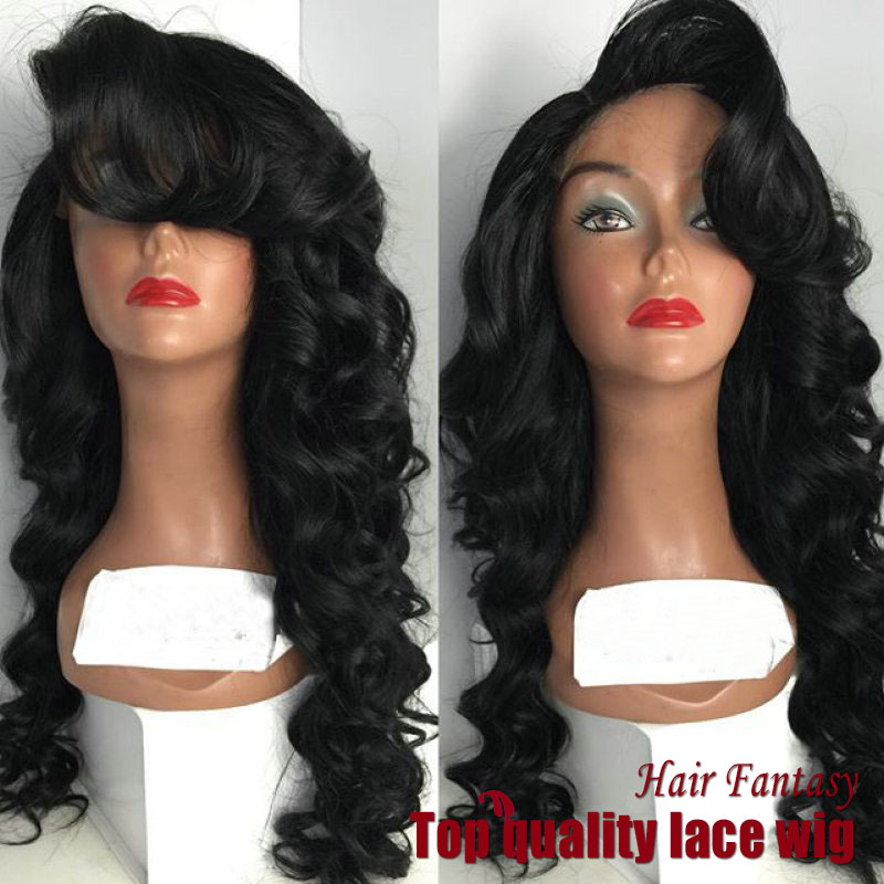 22-34 Inch Black Color Body Wavy Synthetic Lace Front Wigs with Bangs High Quality Natural wigs for African American women