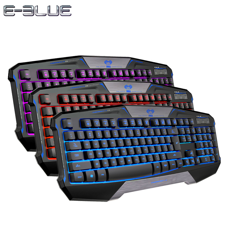 E-3LUE 3-Color Backlight Gaming Keyboard Light Gamer USB Wired Computer Keyboard for E-sports LOL CF DOTA2 WOW FPS Game(China (Mainland))