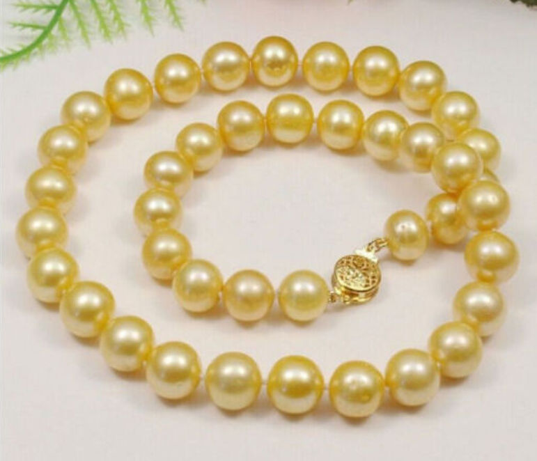 Wholesale price 16new ^^^^ AAA+ 10-11mm south sea Yellow natural Pearl Necklace 18 14K <br><br>Aliexpress