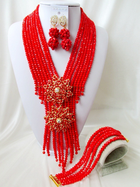 2015 Fashion african red crystal beads necklace set nigerian wedding african beads jewelry set Free shipping P-3271<br><br>Aliexpress