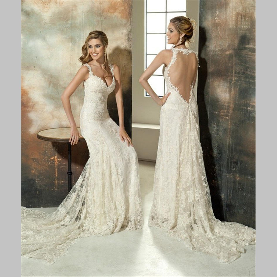 2016 lace wedding dresses vintage beach spaghetti strap for Spaghetti strap backless wedding dress
